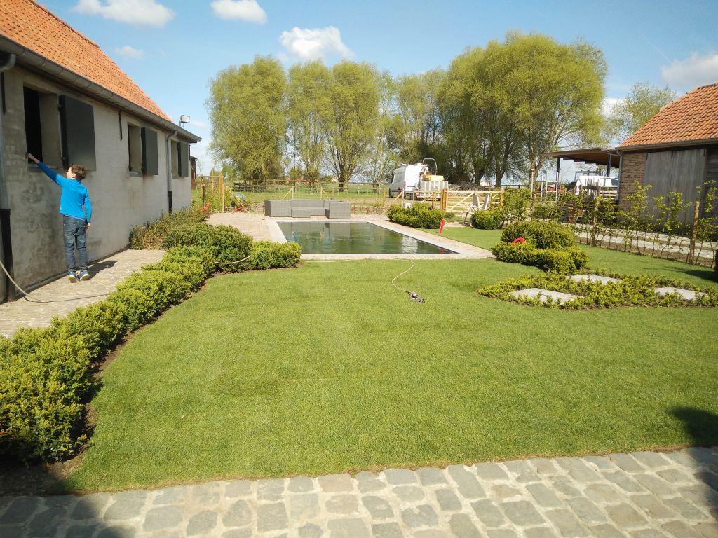 landelijke tuin met zwemvijver On tuin met zwemvijver